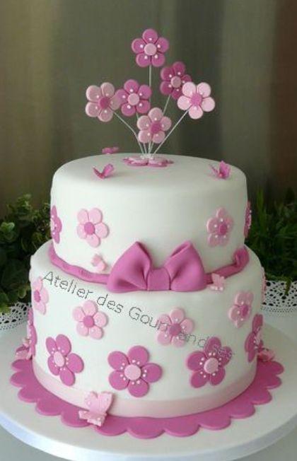fondant cake - flowers for birthday girl