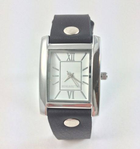 Berg & Betts - Silver watch with black leather