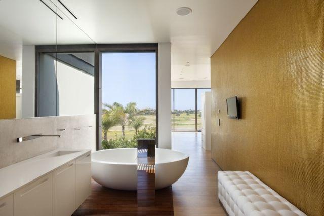 Badezimmer gestalten Ideen moderne Wandfarbe