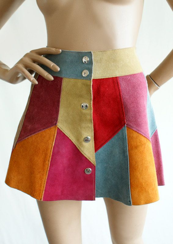 Harlequin suede mini skirt late 1960s / early 1970s