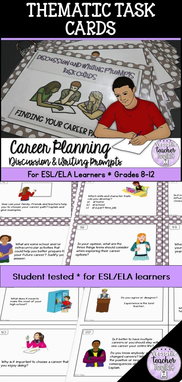 Career Planning Conversation And Writing Prompts Task Cards Task Cards Writing Prompts Task Cards Writing Activities