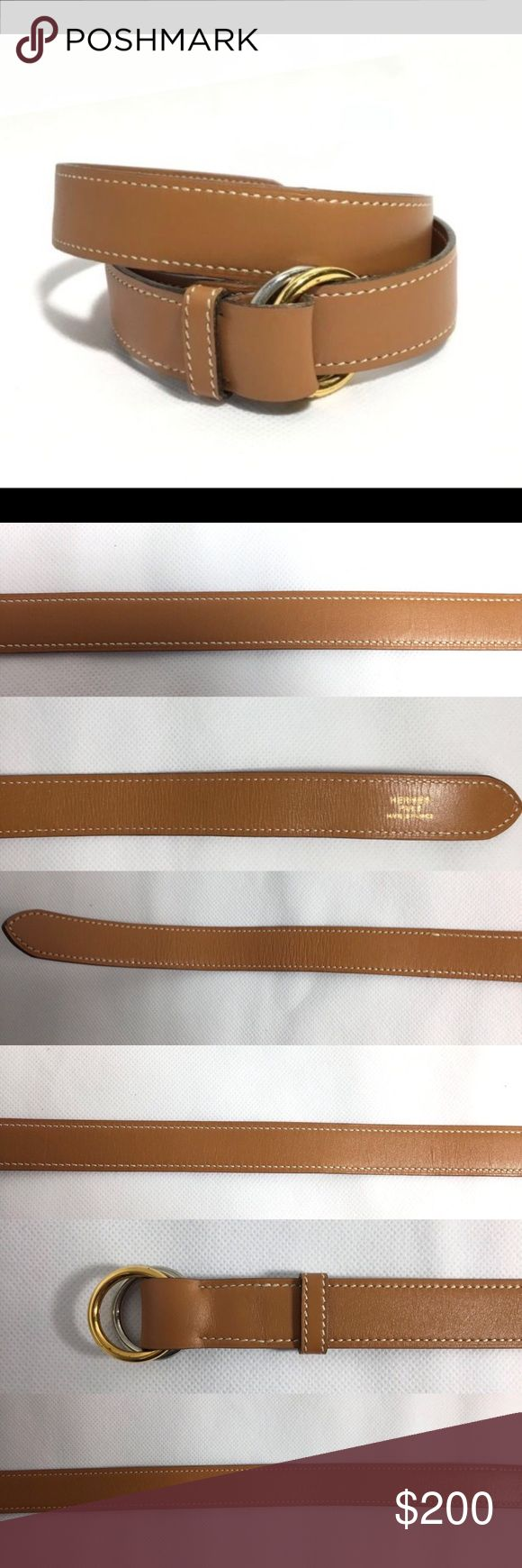 """Authentic Hermes Leather Belt With Double Buckle No Lowballing! No trading. Authentic Hermes tan leather belt with silver tone & gold tone double buckler.    Brand: Hermes Paris. Made in France   Material: leather, metal buckles    Size: 65   Measurements: 32.28"""" (total length with buckle), width 1"""".    Condition: Very good pre owned condition with light signs of use.    Minor wrinkles throughout the belt, few tiny barely noticeable scratches. Buckles show scratches and marks. Hermes…"""