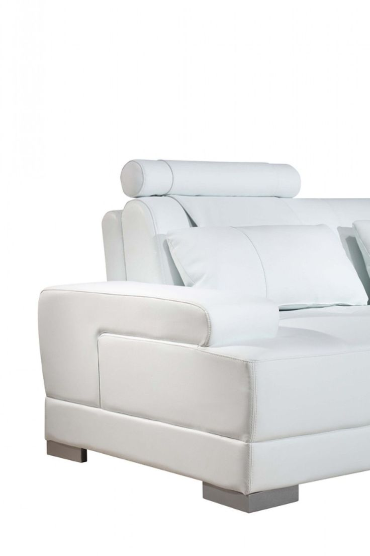 Contemporary furniture stores in chicago il - Divani Casa Phantom Modern White Bonded Leather Sectional Sofa W Ott
