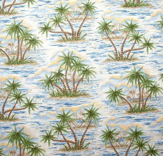 Vintage Hawaiian Print Fabric Remnant by GinghamLife on Etsy, $5.00