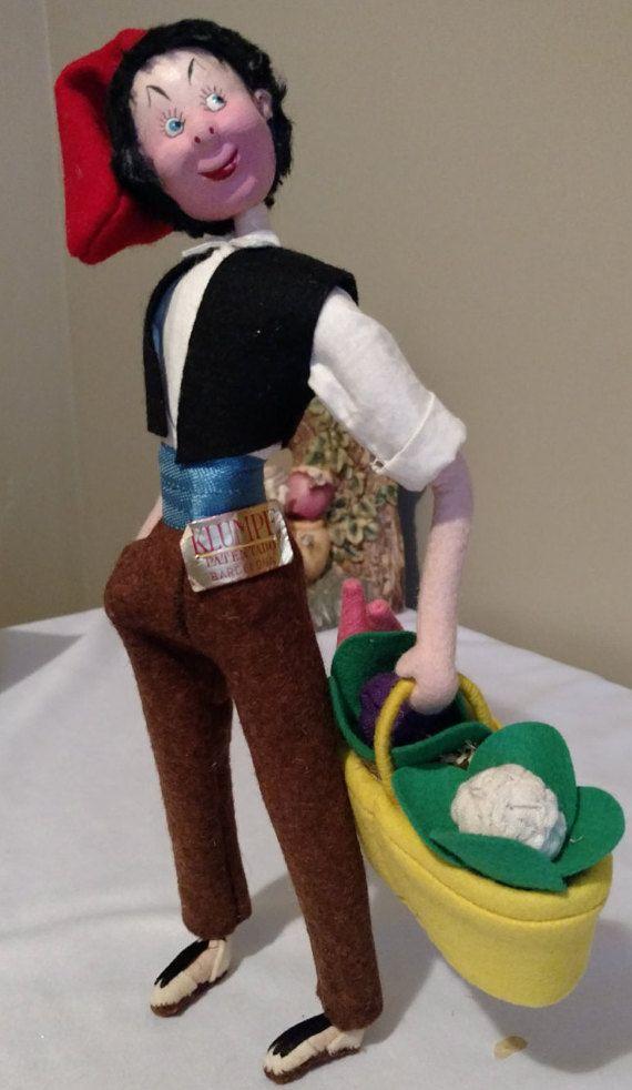"""Vintage 11"""" Klumpe Felt Cloth Doll w/Original Tags, Excellent Condition"""