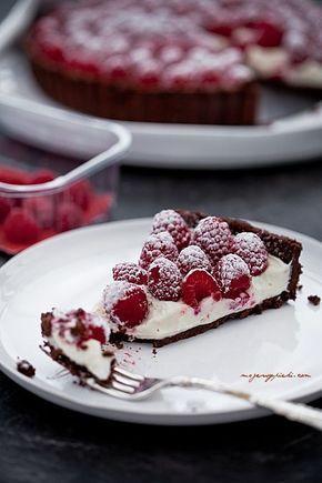 Tarta z malinami z kremem mascarpone+mleko skondensowane   mojewypieki.com