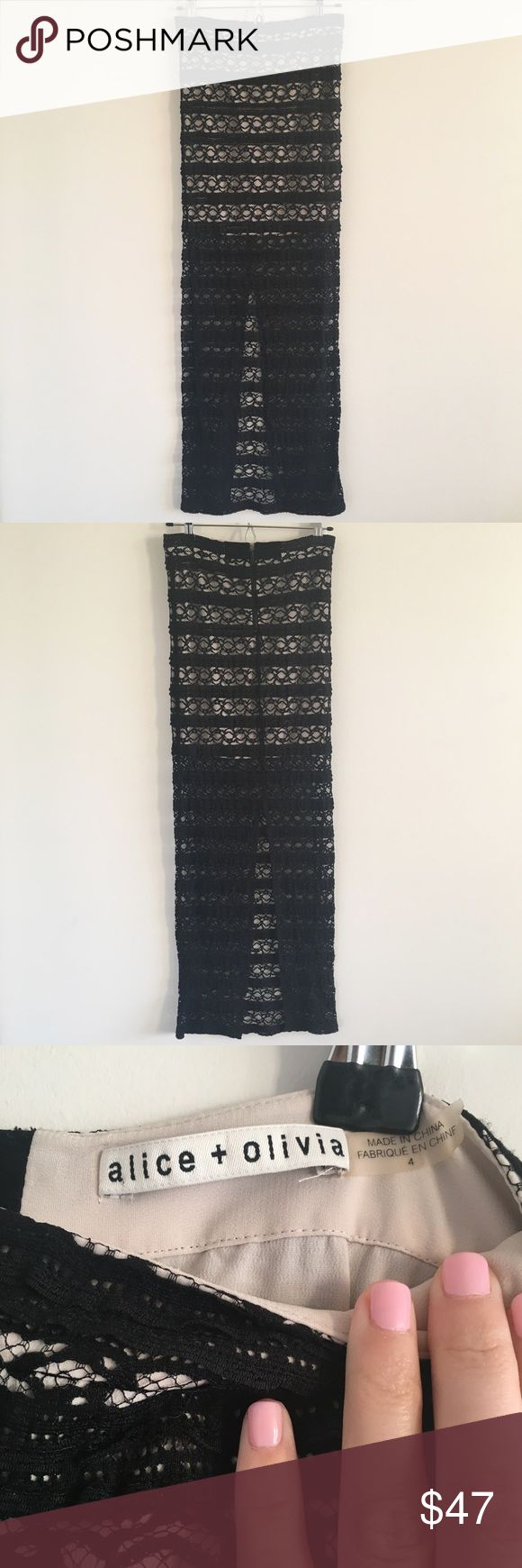 """🆕 Alice + Olivia Ettley Black Lace Maxi Skirt 4 Perfect for making a grand entrance.  Pair with a crop top or bodysuit 🖤  Stats (laying flat): Length: approx. 42.5"""" 