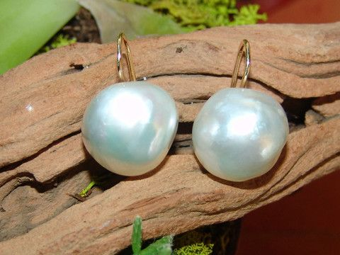 Australian Baroque South Sea pearl earrings by Georgina Whitford.