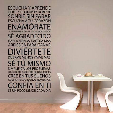 Vinilo decorativo formado por sabios consejos, ideal para decorar una pared, mueble o cristal.