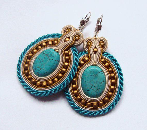 Antique soutache earrings handmade embroidery ecru by SaboDesign.    http://www.etsy.com/listing/122720572/antique-soutache-earrings-handmade?utm_campaign=Share_medium=PageTools_source=Pinterest