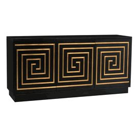 Limited Production Design & Stock:  Grand Greek Key Sideboard  * Ebonized Finish * Gold Leaf Detailing *  Inc: 3 Cupboards With Shelving * 35 x 73 x 19 inches  * Only Few Remaining