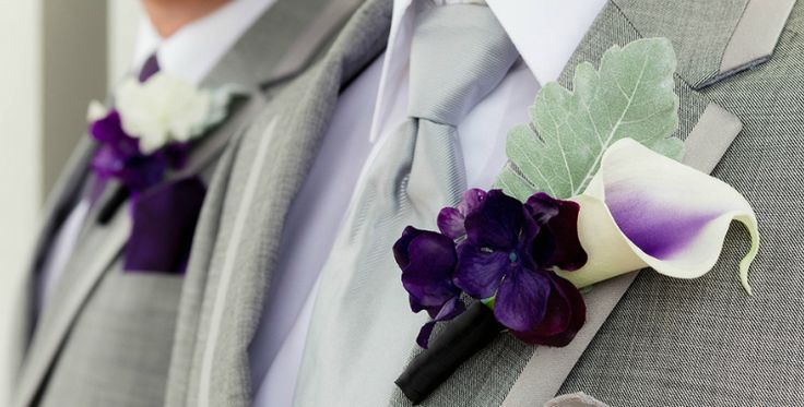 Gorgeous Real Touch hand painted picasso calla lilies, vibrant purple hydrangea and dusty miller boutonniere