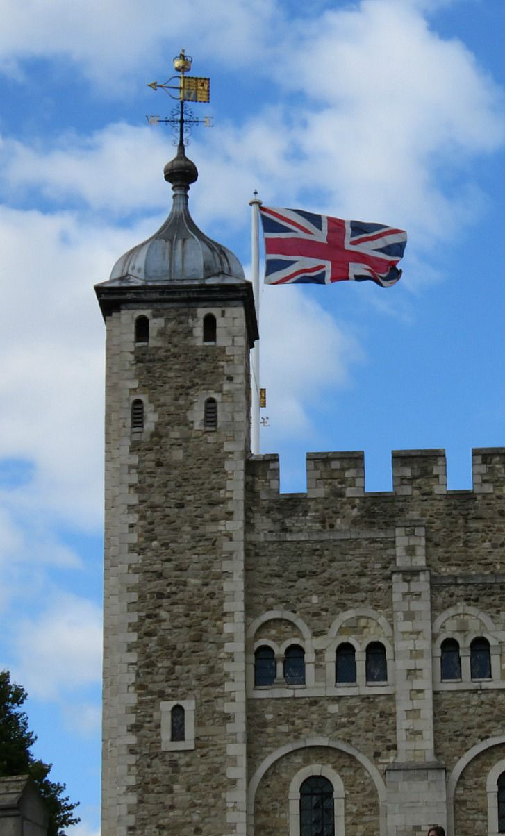 Union Jack flying over the Tower of London
