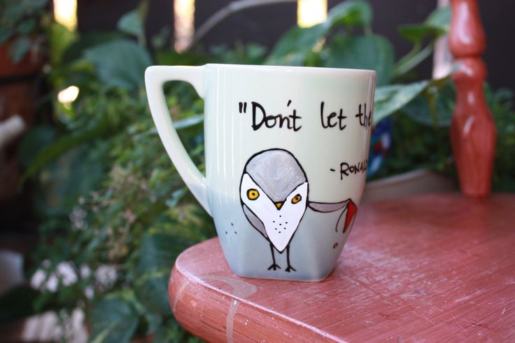 """Made to Order: Ron Weasley """"Don't let the Muggles get you down"""" Hand painted, Harry Potter quote mug - Small or Med/Lg with owls by OpheliasGypsyCaravan on Etsy https://www.etsy.com/ca/listing/255562189/made-to-order-ron-weasley-dont-let-the"""