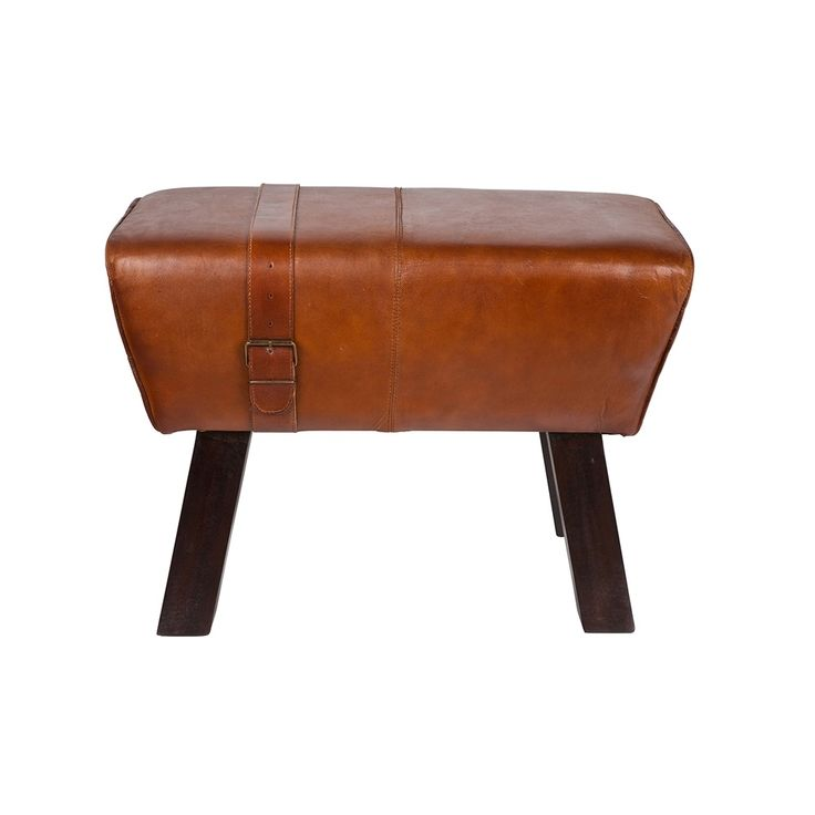 SMALL+LEATHER+VINTAGE+BENCH+in+Brown