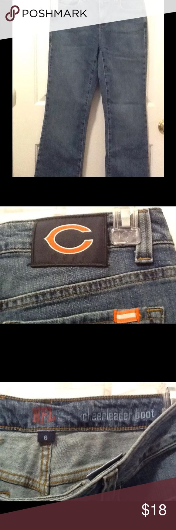 NFL Cheerleader Boot Jeans Chicago Bears NFL Cheerleader Boot Jeans Chicago Bears . Women's Size 6x31. Tags still Attatched . NFL Team Apparel Jeans Boot Cut