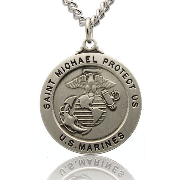 St Michael US Marine Corps Silver Medal With Rhodium Plated Nickel Chain md:1253:s