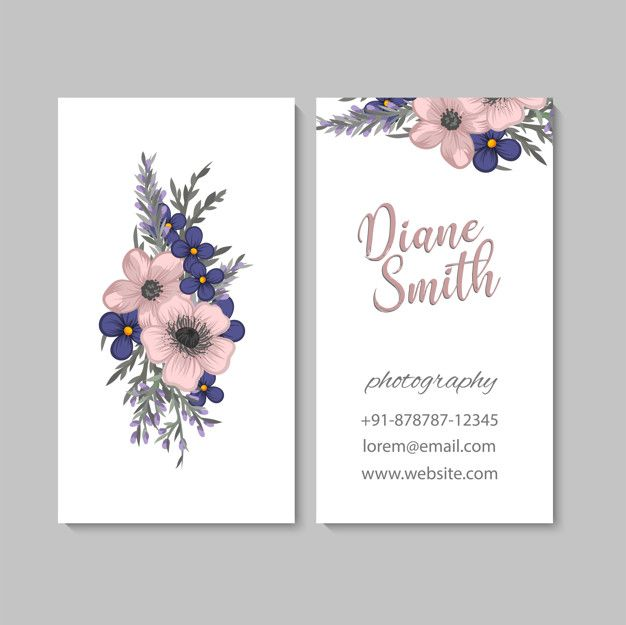 Business Card With Beautiful Flowers Template Name Card Design Business Card Design Card Design