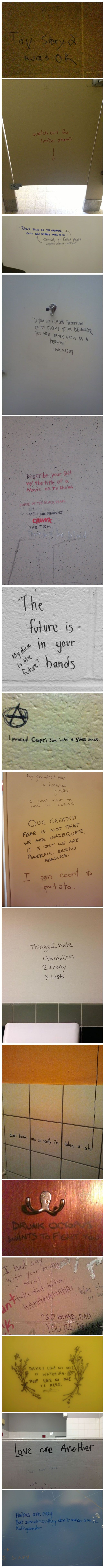 Bathroom wall writings - Bathroom Graffiti Is Hilarious