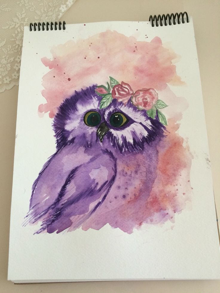 watercolour painting litle girl owl