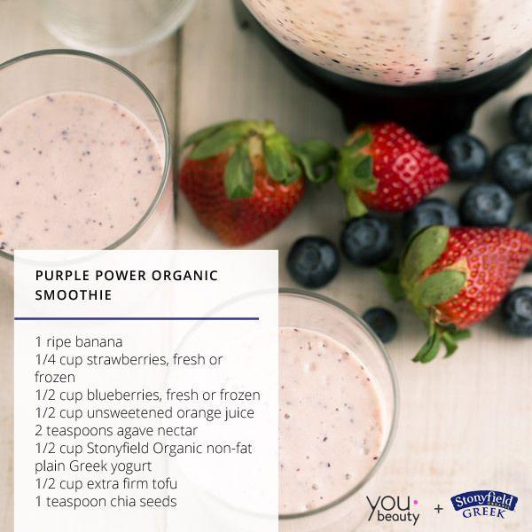 16 Healthy Organic Recipes: Purple Power Organic Smoothie #OrganicLiving