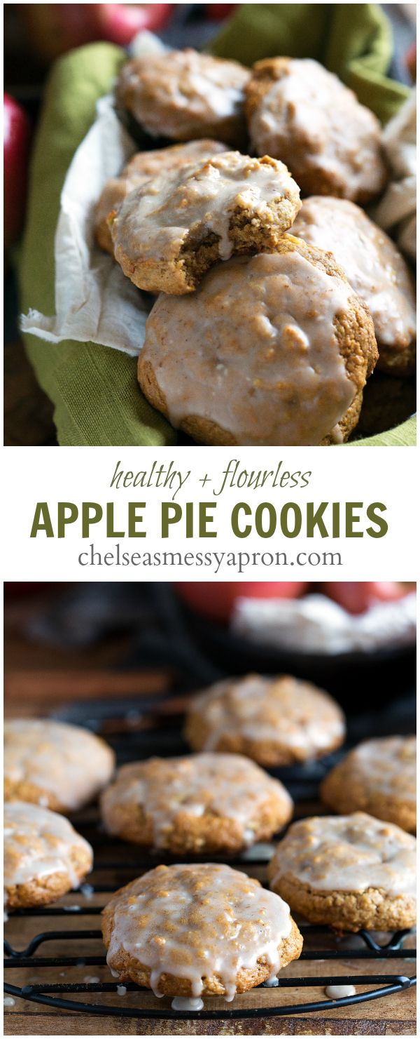 No white flour, no butter, and no oil in these glazed apple pie cookies. #healthy #cleaneating #cookies #apple #pie