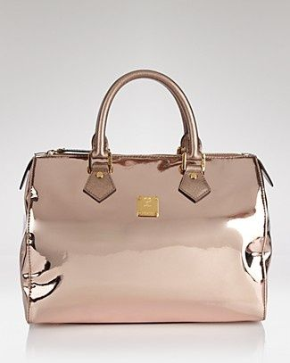 MCM.... rose gold patent leather bag.