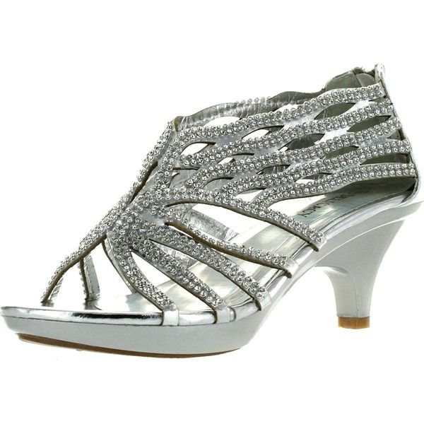 Delicacy Womens Angel-76 Kitten Low Heel Rhinestone Open Front Wedding... ($35) ❤ liked on Polyvore featuring shoes, sandals, silver evening sandals, wedge sandals, wedges shoes, silver flats sandals and silver flats
