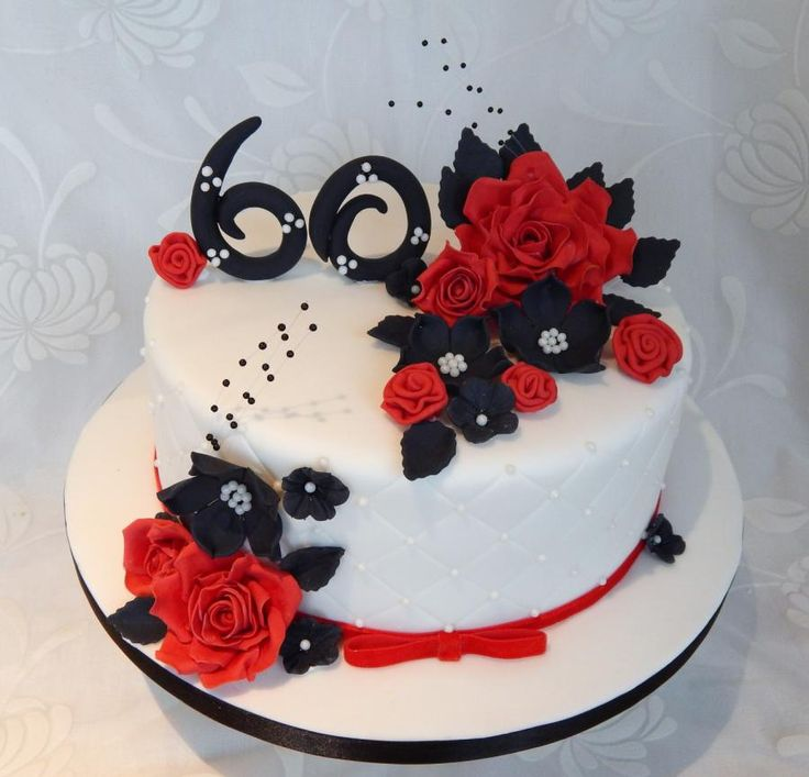 Red white and black 60th cake decorating ideas pinterest for 60th birthday cake decoration