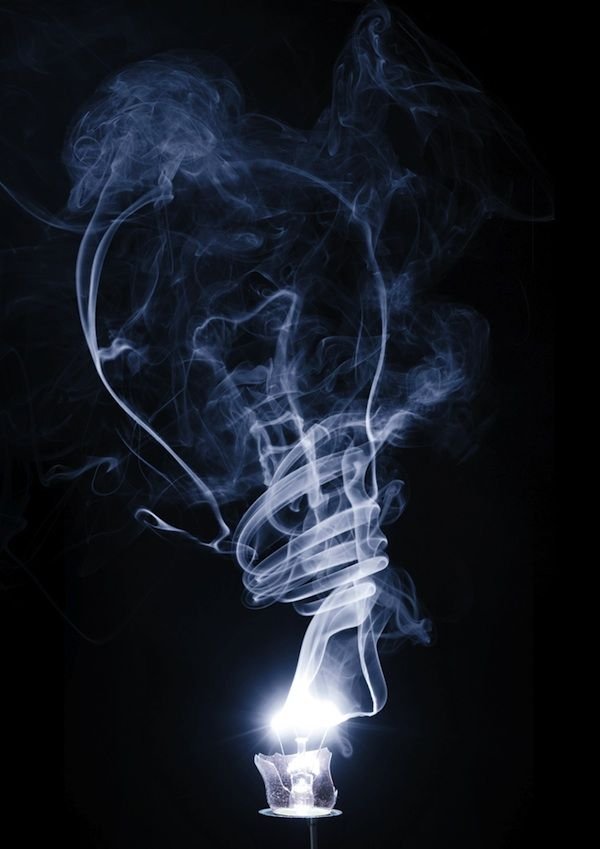 I like the idea of one light going out and another coming on.  Smoke art.
