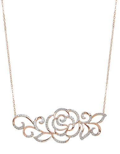 Jewelry & Accessories | Necklaces | 14Kt Rose Gold and Diamond Rose Necklace | Lord and Taylor