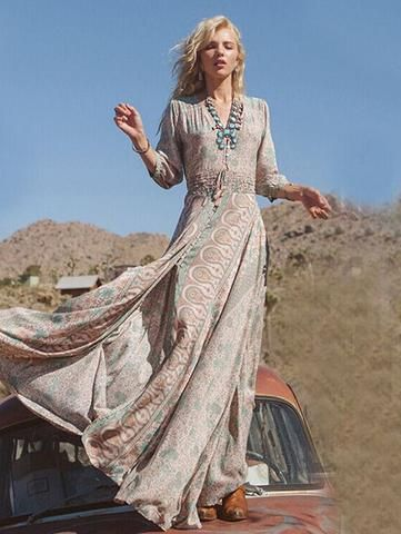 Popular Bohemia Floral 3/4 Sleeve Front Spllit Beach Dress Maxi Dress