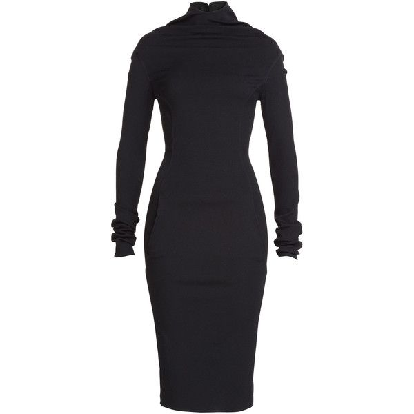Rick Owens Long Sleeve Dress ($565) ❤ liked on Polyvore featuring dresses, black, long sleeve dresses, midi dress, turtleneck dress, black turtleneck und black turtle neck dress