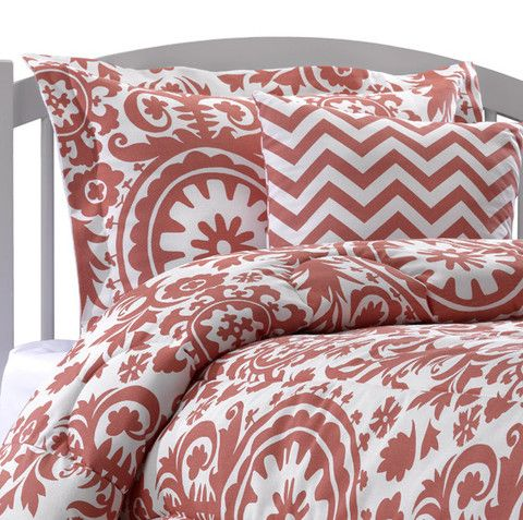 This Coral Dorm Bedding by American Made Dorm & Home looks great with our coral or navy chevron accent pillow! Check it out at amdorm.com!