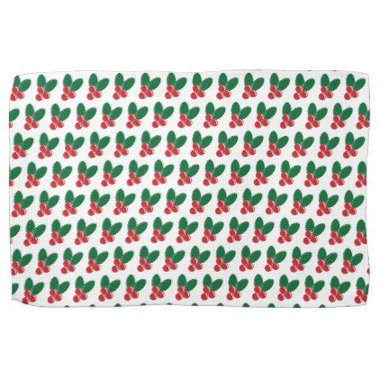 Christmas Red Berries Green Leaves Pattern Towel - patterns pattern special unique design gift idea diy