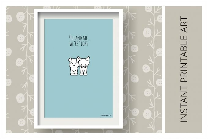 INSTANT ART: You and me, we're tight / dog and cat characters in bright colors / humorous typographic print by Doeksisters on hellopretty.co.za