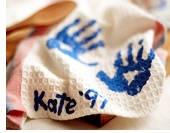Handprint Dishtowels. Grandparent's Day gift idea.