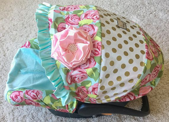 Mint Baby Car Seat Cover Gold Dot Car Seat Cover Tumble Rose