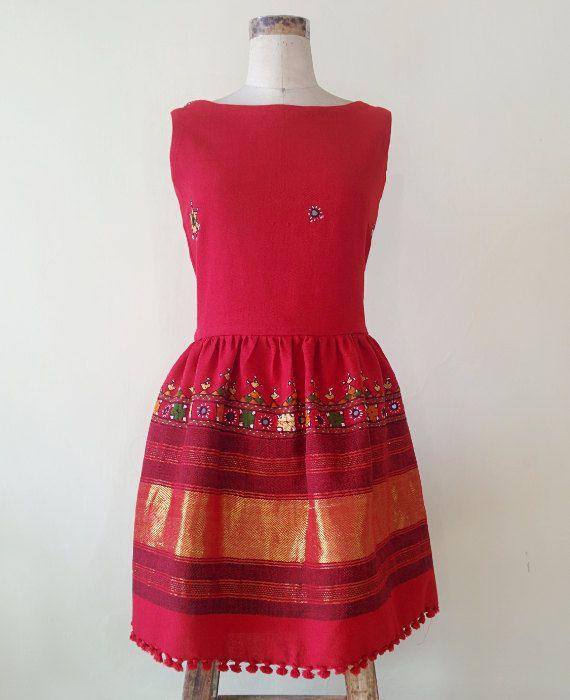 Red Hand Woven and Hand Embroidered Woolen Kutch Rabari Shawl Dress