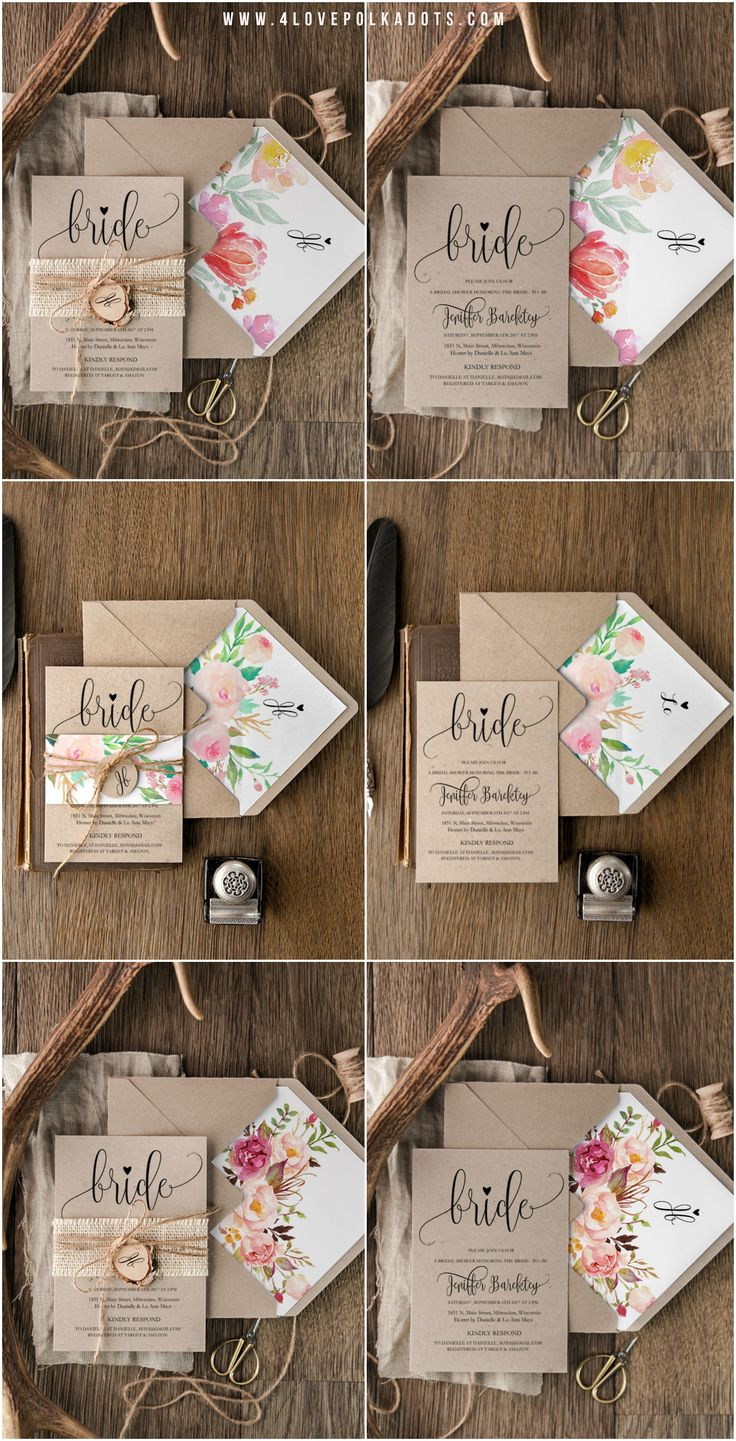 Bridal Shower Invitations - eco kraft paper, floral printing, envelopes liners #boho #rustic #weddingideas #weddingstationery #eco #floral #colorful