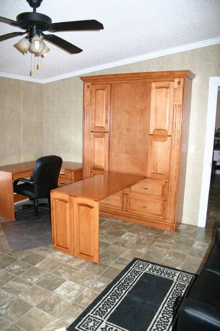 Murphy Bed Desk - not the style, just the concept - two work stations in one room without sacrificing a guest room