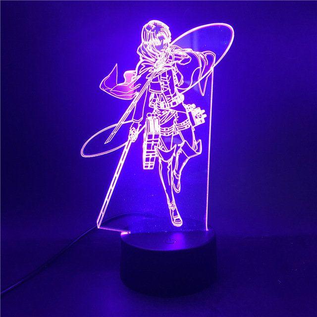 Anime Figure Attack On Titan Levi Ackerman Led Night Light Acrylic 3d Light Lamp Baby Children Led Lighting Home Bedr In 2020 Led Lighting Home 3d Led Night Light Lamp