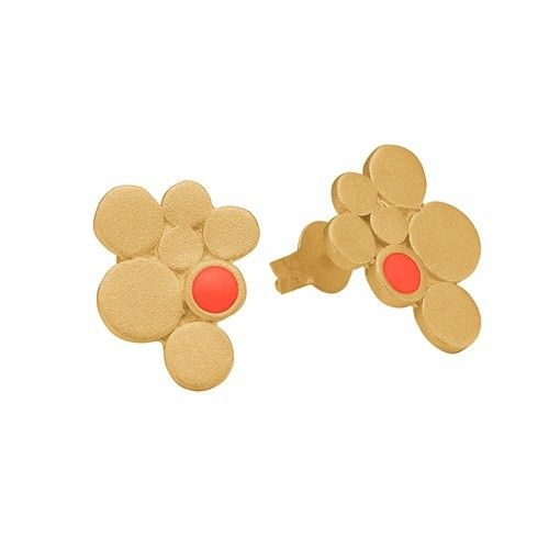 Stud, 7 circles, neon coral, gold plated sterling silver