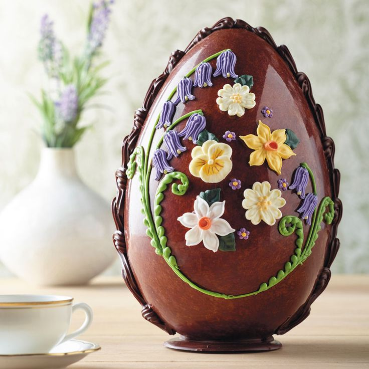 Large Milk Chocolate Spring Flowers Egg | £49.95 | Hand decorated with a stunning display of bluebells and other spring blooms.