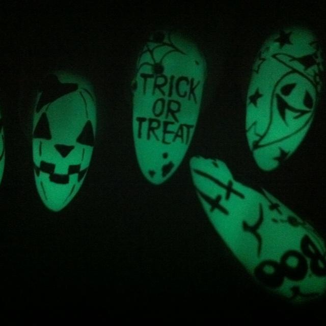 Glowing nails:) at Kawaii Nails in Tustin CA
