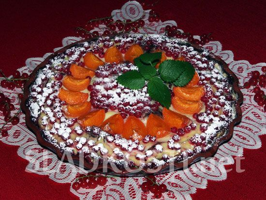 Pudinkový koláč s rybízem a meruňkami