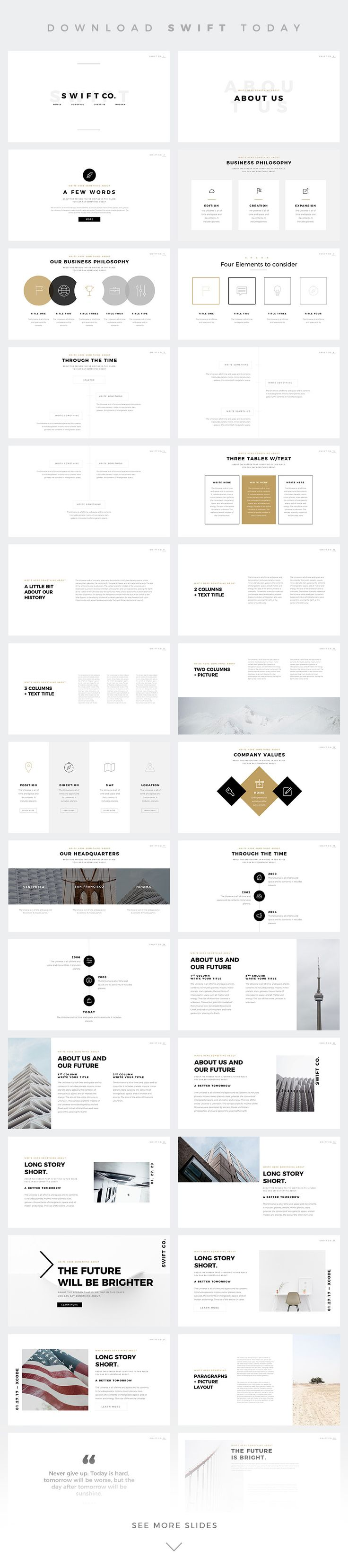 SWIFT Minimal Keynote Template on Behance
