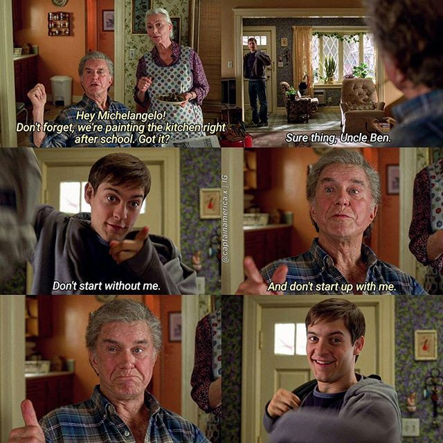 aw their relationship :')  -  Spider-Man (2002)  ☆☆  [#SpiderMan][#PeterParker][#TobeyMaguire][#UncleBen][#CliffRobertson][#Marvel]