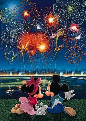 Japan Tenyo Disney Jigsaw Puzzle Minnie Mickey Mouse D-108-836 Fireworks