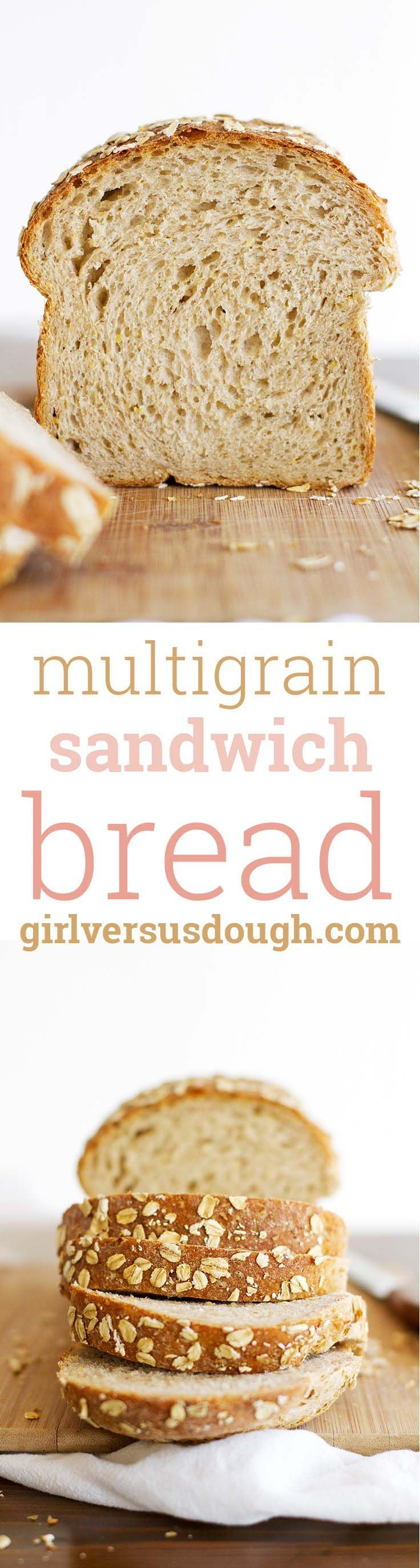 Multigrain Sandwich Bread -- Multigrain cereal, whole wheat flour and honey come together in this soft, tender and delicious sandwich loaf. girlversusdough.com @girlversusdough
